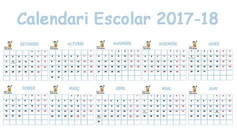 Calendario Escolar 2017 18 Imprimir Calendari Escolar 2017 2018 Gratis Petit