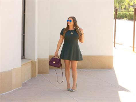 olive green skater dress floral pumps on