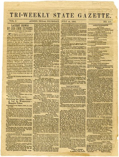 Tx Newspapers Newspapers Report The Battle Of Gettysburg And The