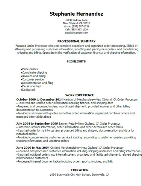 Management Information Processing Resume by Professional Order Processor Resume Templates To Showcase