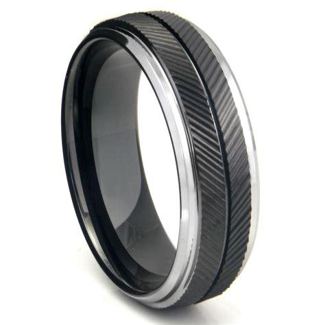 Tungsten Carbide Ring Wedding by Black Tungsten Carbide Chevron Wedding Band Ring