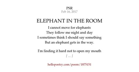 There Is An Elephant In The Room Poem by Elephant In The Room By Psr Hello Poetry