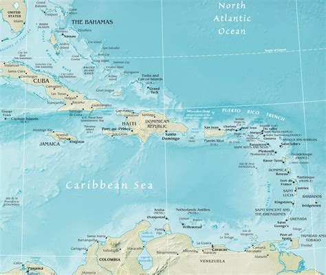 map caribbean map of the caribbean region