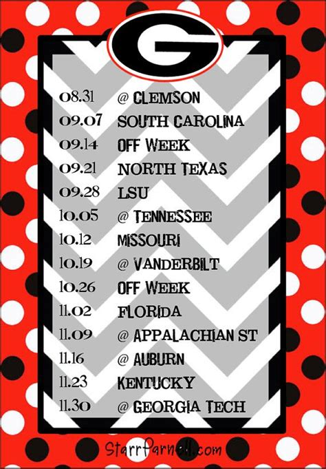printable uga schedule get it for free on my facebook page www facebook com