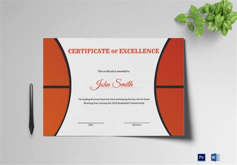 14 Basketball Certificate Templates Psd Free Premium Templates Basketball Award Templates