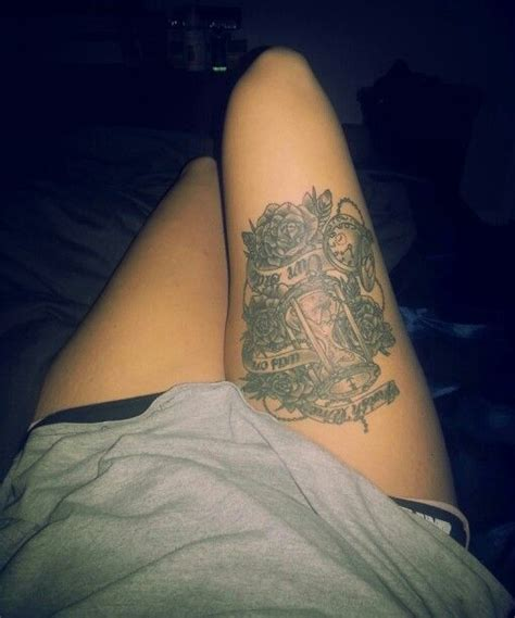 rose tattoo i wish thigh quot i wish time was on our side quot roses