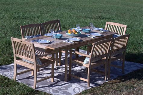 pebble living 7 teak wood patio dining set