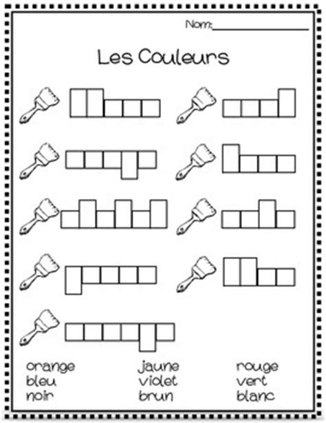 Les Couleurs Worksheet les couleurs worksheet by the filled classroom tpt