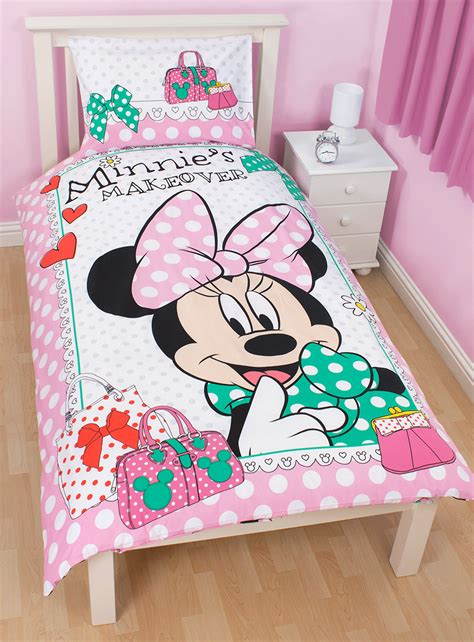 minnie mouse bedding and curtains minnie mouse makeover reversible single duvet quilt cover