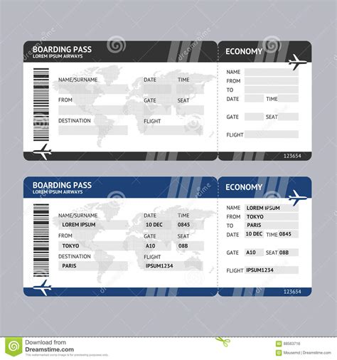 Airline Ticket Boarding Pass Vector Stock Vector Illustration Of Airplane Background 88563716 Travel Ticket Template