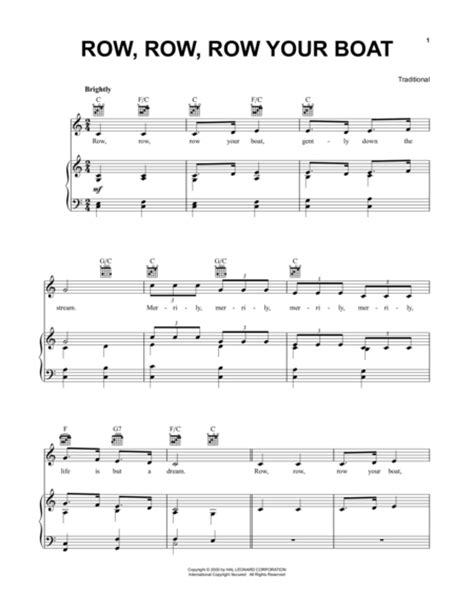 row the boat piano notes download row row row your boat sheet music by