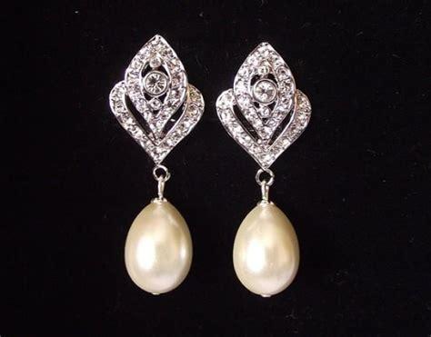 Wedding Clip On Pearl Earrings by Bridal Earrings Pearl Wedding Earrings Vintage Style