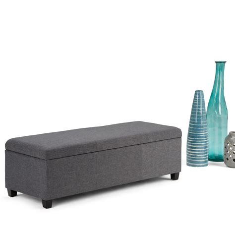 simpli home avalon large storage ottoman simpli home avalon slate grey storage bench axcf18 gl
