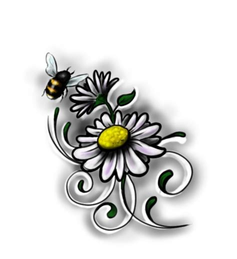 daisy tattoo design flower tattoos bee 2 flower