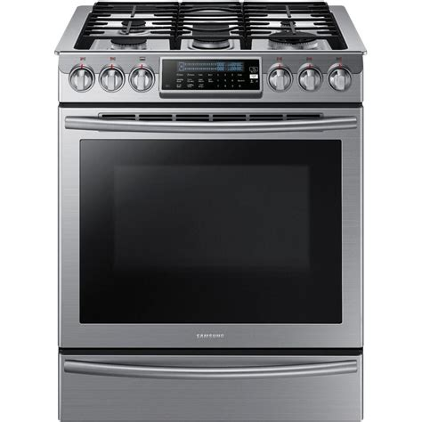 samsung 30 in 5 8 cu ft slide in gas range with self cleaning convection oven in stainless