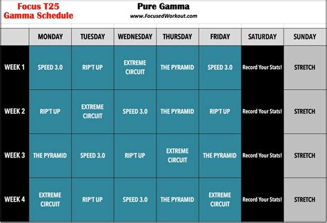 Calendario T 25 Beta T25 Gamma Workout Schedule Calendar