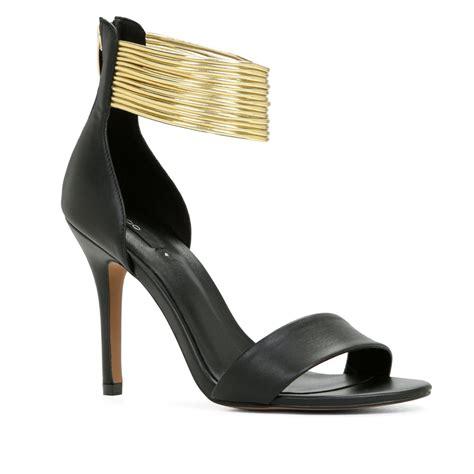 aldo high heel sandals aldo elvianne ankle high heel sandals in gold black