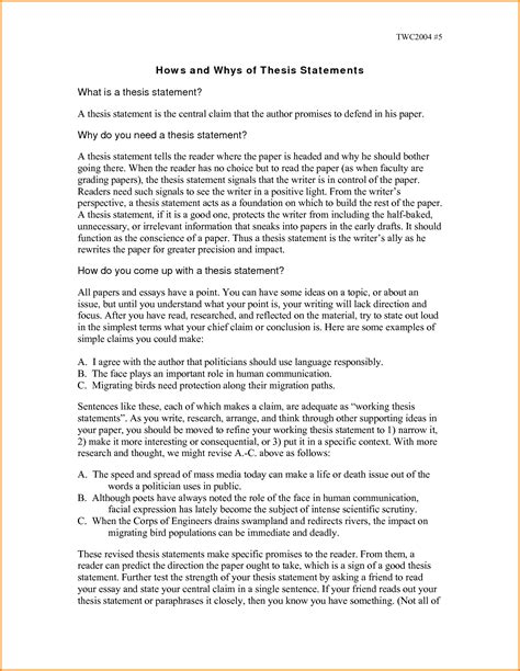 Thesis Statement Exles Essays by 7 Thesis Statement Exles For Essays Authorization Letter