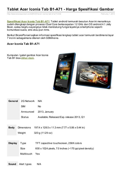 Harga Acer Iconia B1 A71 spesifikasi tablet acer iconia tab b1 a71