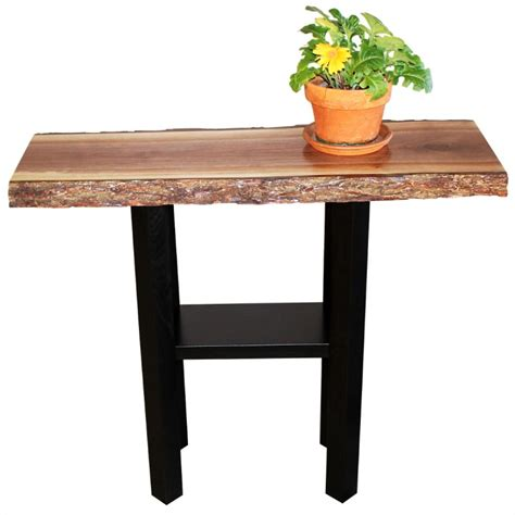 walnut live edge console table amish live edge console