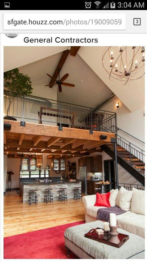 loft  kitchen open  great room barn house interior