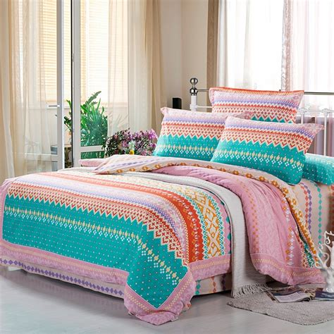 Pink And Orange Bedding Sets Turquoise Green Orange And Pink Personalized Chevron Stripes And Bohemian Tribal Print 100