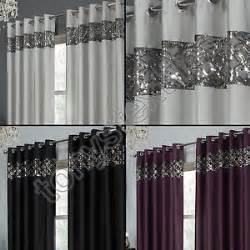 Silver Sparkle Curtains Sequin Sparkle Faux Silk Eyelet Ring Top Curtains Black Silver Purple Ebay