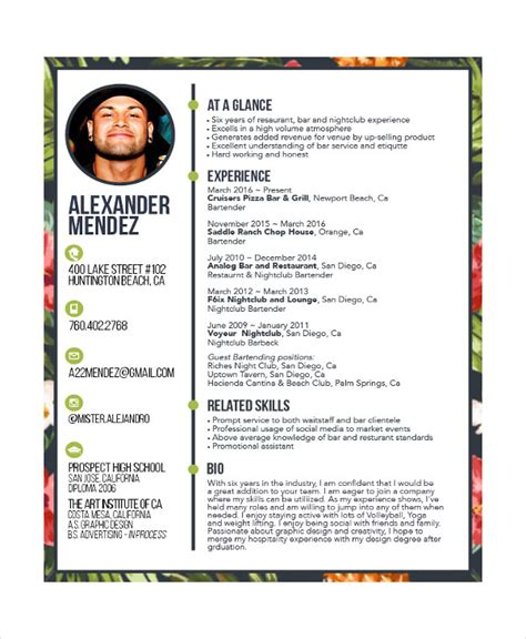 Bartending Resume Templates by Bartender Resume 8 Free Sle Exle Format Free