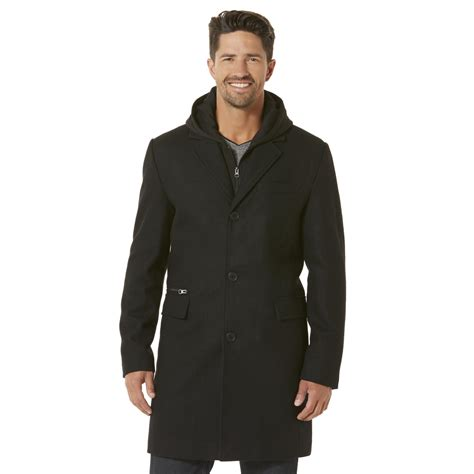 Wool Blend Jacket by Structure S Hooded Wool Blend Trench Coat