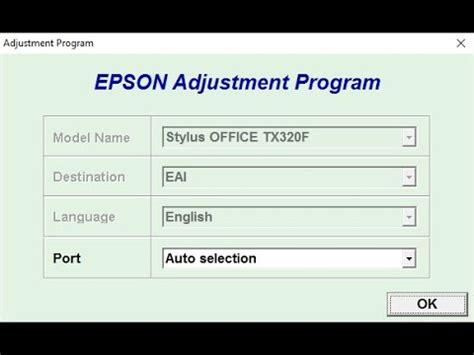 reset adjustment program epson tx320f reset epson tx320f youtube