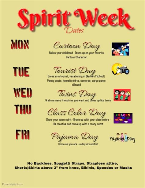 Spirit Week Flyer Template Postermywall Free Spirit Week Flyer Template