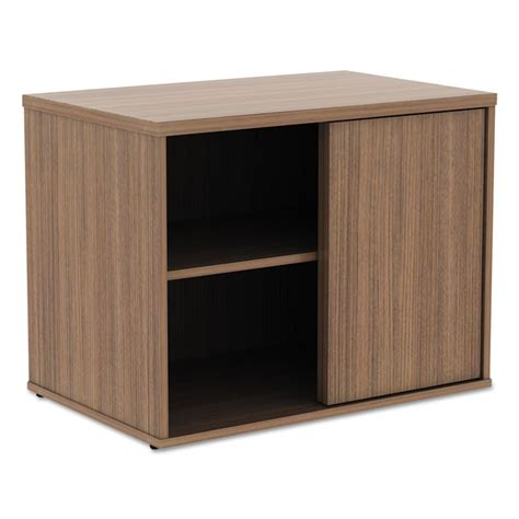 Low Storage Cabinet Alera 174 Open Office Low Storage Cabinet Credenza 29 1 2 X 19 1 8x 22 7 8 Modern Walnut Alera