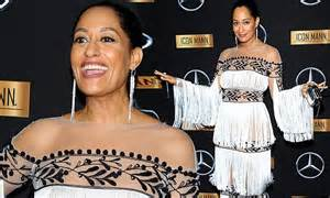 tracee ellis ross agent tracee ellis ross dons yanina fringed frock at oscars bash