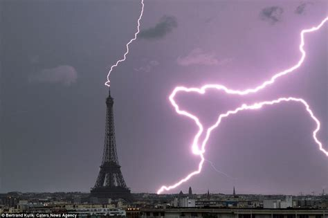 Struck By Lightning Images Eiffel Tower And Statue Of Liberty Among World Landmarks