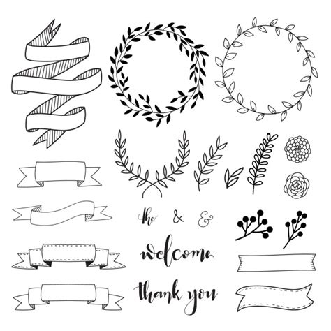 free font design elements hand drawn decorative elements vector free download