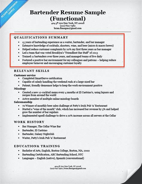Bartender Resume Exles by Resume Qualifications Exles How To Write A Summary Of