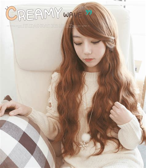 Wig Wavy Mermaid Wave Kawaii Ulzzang wave orange brown korean fashion wig