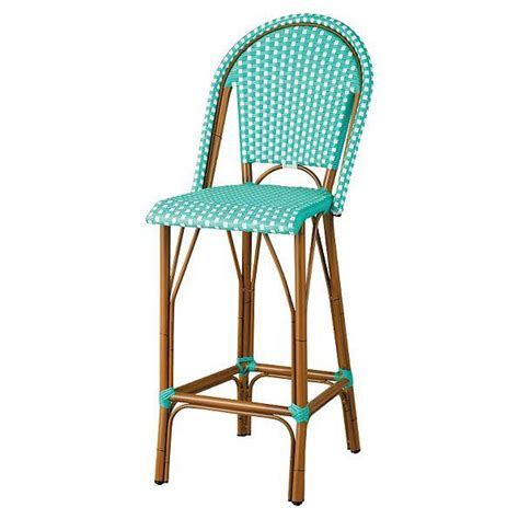 Woven Resin Wicker Faux Bamboo Outdoor High Back Bar Stool Faux Wicker Patio Furniture