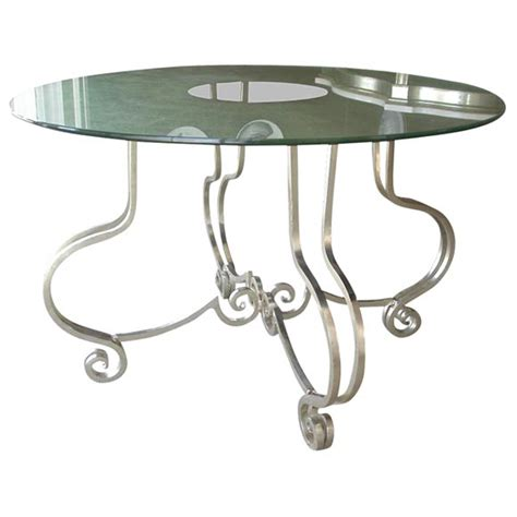 Glass Entry Table A Gilded Wrought Iron And Glass Entry Table At 1stdibs