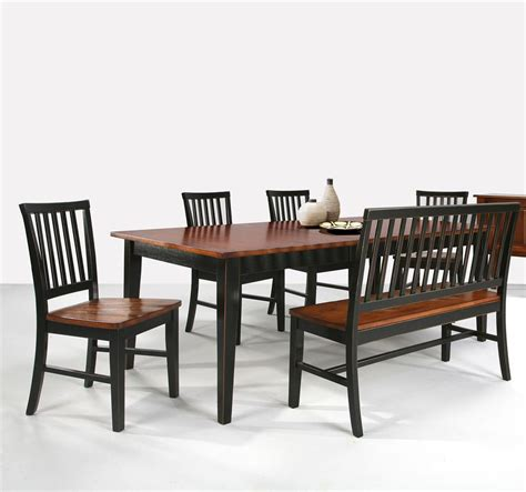 Dining Table With Chairs And Bench Arlington Dining Table With Slat Back Bench Slat Back Side Chairs By Intercon Wolf Furniture