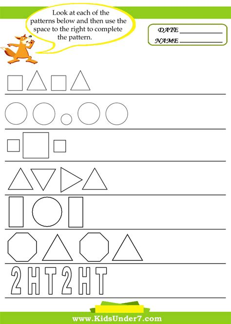 complete the pattern for kindergarten complete the pattern worksheet resultinfos