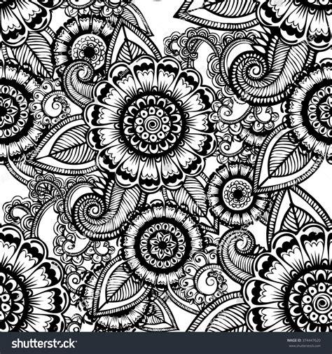 black and white henna pattern vector black white henna flowers seamless stock vector