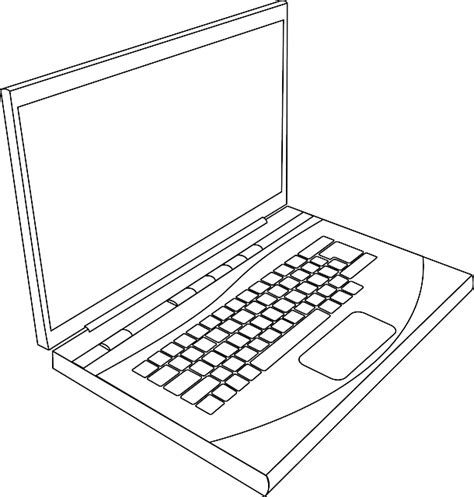 computer sketch computer black top laptop apple outline drawing