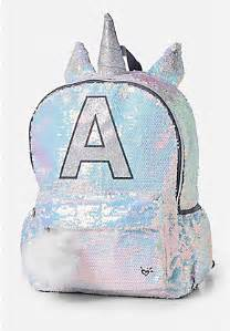 shimmer unicorn initial backpack 2017