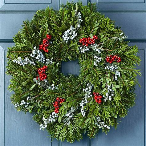 christmas holiday winter wreath fresh christmas juniper