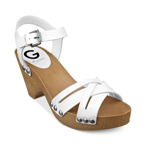 clogs heels for g by guess womens jackal platform clog sandals in white lyst