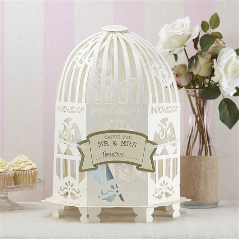 ivory birdcage wedding card post by