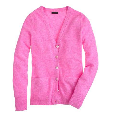 Sweater No Boyfriend Pink j crew collection boyfriend cardigan in pink hthr neon pink lyst