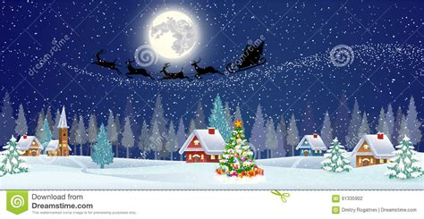 background with christmas tree and night village stock