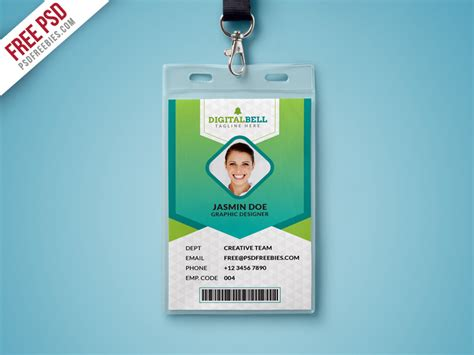 cool id card design template free psd multipurpose photo identity card template psd